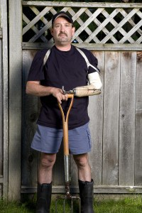 Disabed Man with Shovel